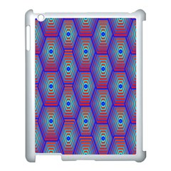 Red Blue Bee Hive Pattern Apple Ipad 3/4 Case (white) by Amaryn4rt