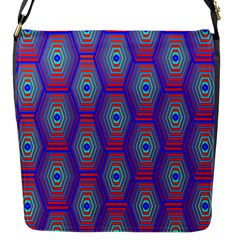 Red Blue Bee Hive Pattern Flap Messenger Bag (s) by Amaryn4rt