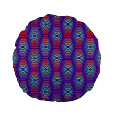 Red Blue Bee Hive Pattern Standard 15  Premium Flano Round Cushions by Amaryn4rt