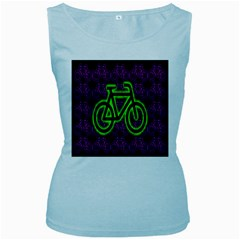 Bike Graphic Neon Colors Pink Purple Green Bicycle Light Women s Baby Blue Tank Top by Alisyart
