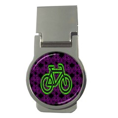 Bike Graphic Neon Colors Pink Purple Green Bicycle Light Money Clips (round)  by Alisyart