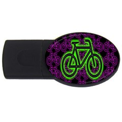 Bike Graphic Neon Colors Pink Purple Green Bicycle Light Usb Flash Drive Oval (2 Gb) by Alisyart