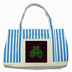 Bike Graphic Neon Colors Pink Purple Green Bicycle Light Striped Blue Tote Bag by Alisyart