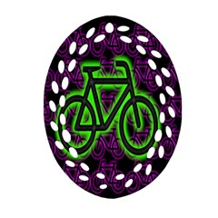 Bike Graphic Neon Colors Pink Purple Green Bicycle Light Oval Filigree Ornament (two Sides) by Alisyart