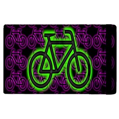 Bike Graphic Neon Colors Pink Purple Green Bicycle Light Apple Ipad 3/4 Flip Case by Alisyart