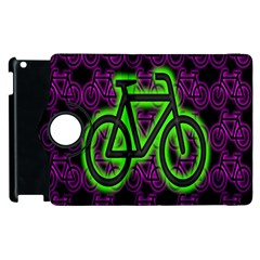Bike Graphic Neon Colors Pink Purple Green Bicycle Light Apple Ipad 3/4 Flip 360 Case by Alisyart