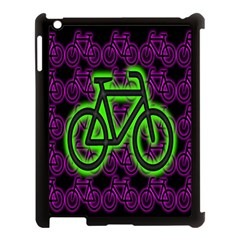 Bike Graphic Neon Colors Pink Purple Green Bicycle Light Apple Ipad 3/4 Case (black) by Alisyart