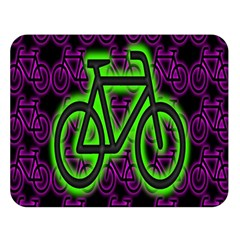 Bike Graphic Neon Colors Pink Purple Green Bicycle Light Double Sided Flano Blanket (large)  by Alisyart