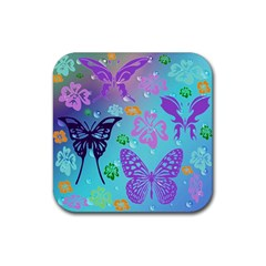 Butterfly Vector Background Rubber Coaster (square)