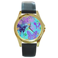 Butterfly Vector Background Round Gold Metal Watch by Amaryn4rt