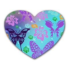 Butterfly Vector Background Heart Mousepads by Amaryn4rt
