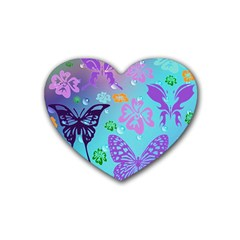 Butterfly Vector Background Heart Coaster (4 Pack)  by Amaryn4rt