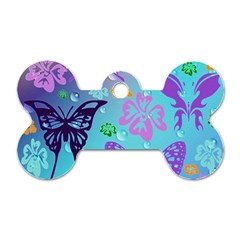 Butterfly Vector Background Dog Tag Bone (two Sides) by Amaryn4rt
