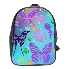 Butterfly Vector Background School Bags(large)  by Amaryn4rt