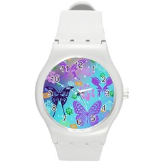 Butterfly Vector Background Round Plastic Sport Watch (m) by Amaryn4rt