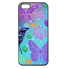 Butterfly Vector Background Apple Iphone 5 Seamless Case (black) by Amaryn4rt