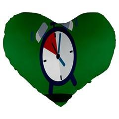 Alarm Clock Weker Time Red Blue Green Large 19  Premium Heart Shape Cushions by Alisyart