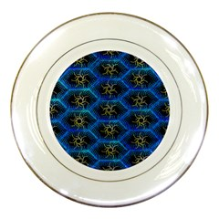Blue Bee Hive Pattern Porcelain Plates by Amaryn4rt