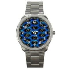 Blue Bee Hive Pattern Sport Metal Watch by Amaryn4rt