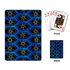 Blue Bee Hive Pattern Playing Card by Amaryn4rt
