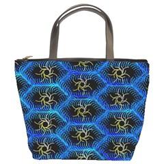 Blue Bee Hive Pattern Bucket Bags by Amaryn4rt