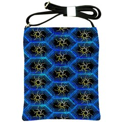 Blue Bee Hive Pattern Shoulder Sling Bags by Amaryn4rt