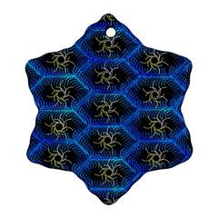 Blue Bee Hive Pattern Ornament (snowflake)