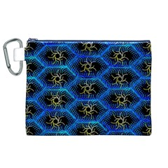 Blue Bee Hive Pattern Canvas Cosmetic Bag (xl) by Amaryn4rt