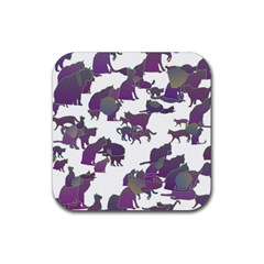 Many Cats Silhouettes Texture Rubber Square Coaster (4 Pack)  by Amaryn4rt