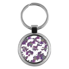 Many Cats Silhouettes Texture Key Chains (round)  by Amaryn4rt