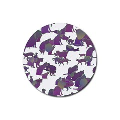 Many Cats Silhouettes Texture Rubber Coaster (round)  by Amaryn4rt
