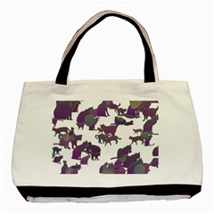 Many Cats Silhouettes Texture Basic Tote Bag by Amaryn4rt