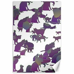 Many Cats Silhouettes Texture Canvas 24  X 36  by Amaryn4rt