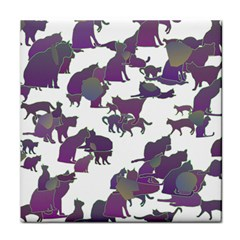 Many Cats Silhouettes Texture Face Towel by Amaryn4rt