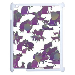 Many Cats Silhouettes Texture Apple Ipad 2 Case (white) by Amaryn4rt