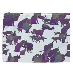 Many Cats Silhouettes Texture Cosmetic Bag (xxl)  by Amaryn4rt