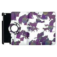 Many Cats Silhouettes Texture Apple Ipad 2 Flip 360 Case by Amaryn4rt