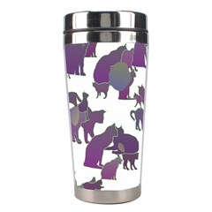 Many Cats Silhouettes Texture Stainless Steel Travel Tumblers by Amaryn4rt