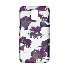 Many Cats Silhouettes Texture Samsung Galaxy S5 Hardshell Case  by Amaryn4rt
