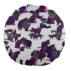 Many Cats Silhouettes Texture Large 18  Premium Flano Round Cushions by Amaryn4rt