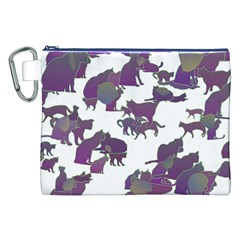 Many Cats Silhouettes Texture Canvas Cosmetic Bag (xxl) by Amaryn4rt