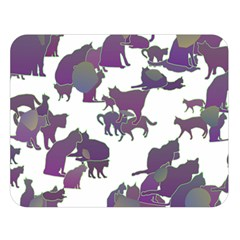 Many Cats Silhouettes Texture Double Sided Flano Blanket (large)  by Amaryn4rt