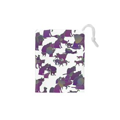 Many Cats Silhouettes Texture Drawstring Pouches (xs)  by Amaryn4rt