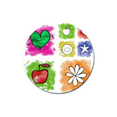 A Set Of Watercolour Icons Magnet 3  (round) by Amaryn4rt