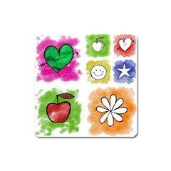 A Set Of Watercolour Icons Square Magnet by Amaryn4rt