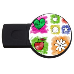 A Set Of Watercolour Icons Usb Flash Drive Round (2 Gb) by Amaryn4rt