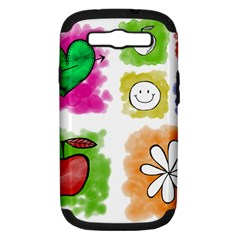 A Set Of Watercolour Icons Samsung Galaxy S Iii Hardshell Case (pc+silicone)
