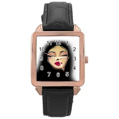 Girl Rose Gold Leather Watch  by Valentinaart