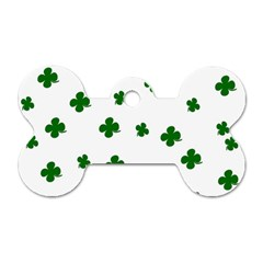 St  Patrick s Clover Pattern Dog Tag Bone (one Side) by Valentinaart