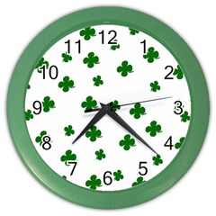 St  Patrick s Clover Pattern Color Wall Clocks by Valentinaart